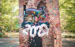 2020 Graduation photo with confetti